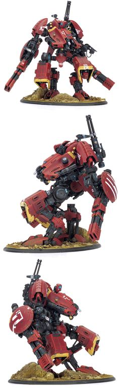 Warhammer 40k Tau, Heavily-modified (scratch built?) Riptide Battlesuit. Very cool! I like it a lot, more I think than the classic model (looks more mobile)