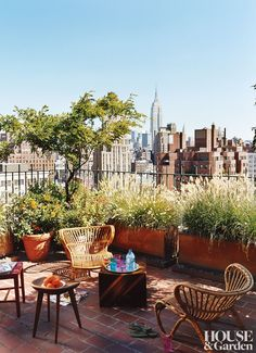 Sally Hershberger's apartment in downtown Manhattan has spectacular views and a terrace garden she likes to keep looking a little wild.