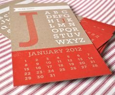 2012 screen printed calendar from  Two Trick Pony (etsy) http://www.etsy.com/shop/twotrickpony #typography #typefaces #paper_goods