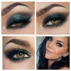 Beautiful teal eye make up for green eyes