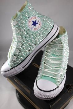 4d939dbf1bf5 Bridal Converse- Wedding Converse- Bling   Pearls Custom Converse Sneakers-  Personalized Chuck Taylors
