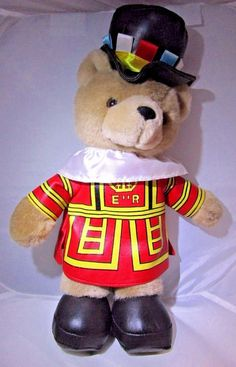 "Plush 16"" Brown Teddy Bear ER Elizabeth Regina British Royal Guard Souvenir Toy"