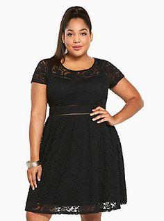 Plus Size Lace Scoop Skater Dress, DEEP BLACK