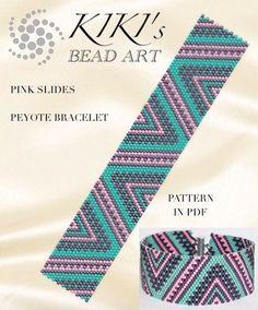 Peyote Pattern for bracelet - Pink slides peyote bracelet pattern in PDF - instant download
