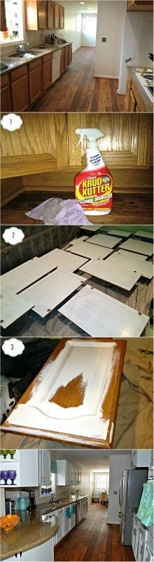 Amazing before and after shot. Check out this DIY tutorial on how to paint white kitchen cabinets @ Pin Your Home