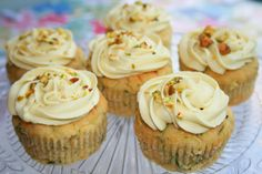 NEW: Courgette and Lime Cupcakes.  gluten-free, dairy-free, egg-free. Suitable for vegetarians and vegans. Topped with crushed pistachio nuts (optional)