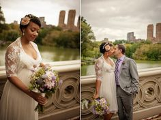 bride and groom, just married, on Bow Bridge in Central Park