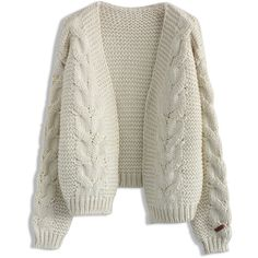 Chicwish Sun Daze Cable Knit Cardigan in Ivory ($59) ❤ liked on Polyvore featuring tops, cardigans, sweaters, white, open front cardigan, ivory top, cable knit cardigan, cable cardigan and white open front cardigan