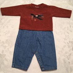 Cachcach Baby Boy Size 12 Month Romper Blue Jean Brown AirPlane Playsuit One Pc  | eBay