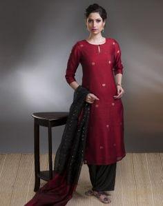 Silk Cotton Chanderi Zari Buti Long Kurta. fabindia