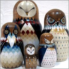 @Christine Tallman Babushka Owls family by TwoOne (don't know what to pin them under....soooo i picked funny.. :P)