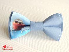 Купить Бабочка галстук с совой, хлопок - синий, сова, рисунок, зима, Новый Год