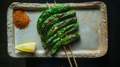 Grilled Shishito Peppers with Shichimi Togarashi   Recipe adapted from Tadashi Ono, Maison O, New York City