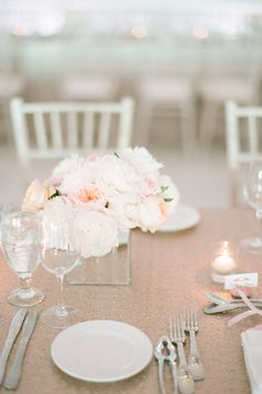 Blush Pink and Gold Sequin Table Linens.  Read More: http://www.stylemepretty.com/2014/08/21/blush-and-gold-seaside-wedding-in-montauk/