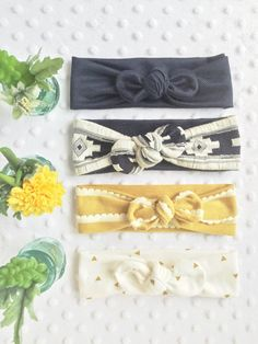 Fall Colors Headwraps Baby Headbands Mustard by LucysBowsandArrows
