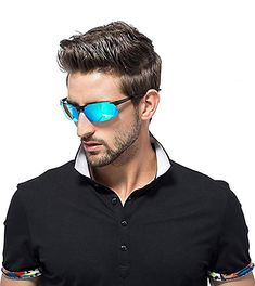 9574f8da91a Amazon.com  MOORAY Mens Sports Polarized Sunglasses UV Protection Fashion  Sunglasses for Men Fishing Driving(Blue
