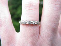 Art Deco Wedding Band, Platinum Diamond Ring, Square Cut Diamonds, Rare, Fine Maker Traub Orange Blossom, Circa 1930s on Etsy, $975.00