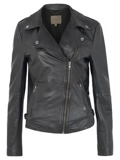 Tehmi Leather Biker Jacket in Black / Muubaa -one day I'll be cool enough to pull this off