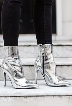 Trend Report: Liquid Silver Boots,Trend Report: Liquid Silver Boots Boots for Girls - Experience the Breeze and Weather with Appeal Women's boots : With the proper women's boots , you . Dr Shoes, Cute Shoes, Me Too Shoes, Metallic Ankle Boots, Silver Boots, Metallic High Heels, High Heel Boots, Shoe Boots, Shoe Chart