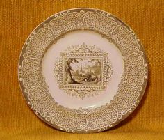 """Lighter Brown """"Gypsy""""  Transferware Luncheon Plate  Seekers Antiques"""