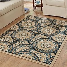 Better Homes and Gardens Blue Tokens Driftwood Olefin Area Rug