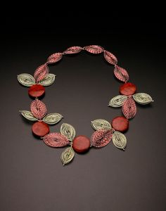ARLINE FISCH ORANGE FLOWERS, NECKLACE  Sterling silver, fine silver, coated copper wire, stone beads