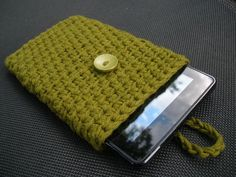 Kindle Fire eReader Cover Sleeve in Olive Green 100% Cotton Crochet - Ready-to-ship. $24.99, via Etsy.