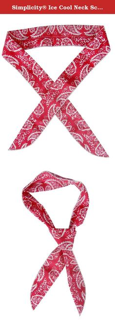 "Simplicity® Ice Cool Neck Scarf Wrap Cotton Non-toxic Bandana, Red. Perfect for all outdoor activities or hot workplaces. This bandana-style scarf is suitable for use as head, neck, arm, or wristband. Perfect for ""cooling"", just soak in water for 10-50 minutes, wipe the excess water away, and wear around your neck, forehead, or wrist. To keep you cool for hours. When the water evaporates simply wet again for more cooling effects. Materials: 100% Polyester, Non-Toxic Size: 39.5"" L X 2"" W..."