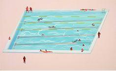 泳池系列-男男女女,36x58cm,壓克力畫布2013   Flickr – 相片分享!