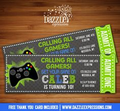 Printable Chalkboard Video Game Ticket Birthday Invitation | Digital File | Gamer Party | XBOX | PS3 | Boys Birthday Party Idea | FREE thank you card | Party Package Available | Banner | Cupcake Toppers | Favor Tag | Food and Drink Labels | Signs |  Candy Bar Wrapper | www.dazzleexpressions.com