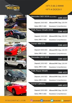Luxury Car Rental catalog to know detail about Complete Range of X Car Rental. Best Price, Best Service, Best Model Cars and the Best Location, Only with X Car Rental. Luxury Car Rental, Luxury Cars, Ferrari Rental, Pickup And Delivery Service, Mercedes G63, Rolls Royce Wraith, 488 Gtb, X Car, Ferrari 488