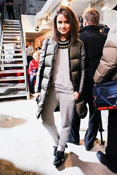 Miroslava Duma does sweats.