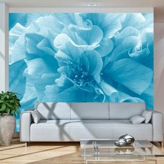 """Availability: on orderResistant, water-rejecting and scratch-proof fleece wallpaper """"Blue azalea"""". Wallpaper """"Blue azalea"""" with the inspiring motive will be an effective eye-catch for each interior. 3d Wallpaper Mural, View Wallpaper, Vintage Design, Wall Murals, Love Seat, Vibrant Colors, Floral Design, Decoration, Tapestry"""