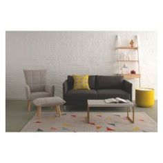 The Hyde grey fabric 2 seater sofa delivers high comfort with slender proportions. Buy now at Habitat UK. Fabric Armchairs, Fabric Sofa, Grey Fabric, Small Armchairs, Yellow Fabric, Home Living Room, Living Room Furniture, Living Room Designs, Yellow Storage