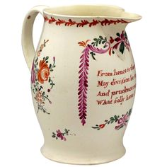 18th century English pottery creamware pitcher with verse c. 1780