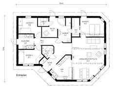 Villa Vinga - Spännande lösningar med kul vinklar och vrår som gör att huset välkomnar ljuset. Future House, My House, Sims 4 Houses, House Drawing, House Plans, New Homes, Villa, Floor Plans, Room Decor