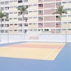 New York photographer Ward Roberts has scoured the globe for brightly coloured basketball courts to create a series pastel-toned images