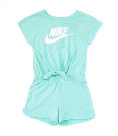 From Nike& this romper features:round necklineshort sleevesButton-back closurecontrasting Nike logo and Swoosh design trademark on the frontencased elastic waistband with knotted detail at the center frontCotton/polyesterMachine washImported. Girls Fashion Clothes, Teen Fashion Outfits, Kids Fashion, Tween Girls Clothing, Fashion Blogs, Little Girl Fashion, Style Clothes, Fashion Fashion, Fashion Beauty