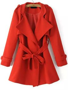 Red Lapel Epaulet Tie-waist Trench Coat
