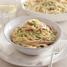 Ham and zucchini carbonara - you can of course substitute the ham for bacon, and the zucchini for broccoli or asparagus