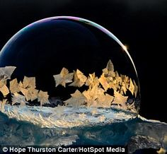 How to create your own snow globe: Soap bubbles blown in freezing temperatures…