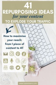 Weekly content creation is intense. Are you maximising the reach of your blog post? From one blog content to 41! Creating content does not need to be so hard. How to repurpose your blog content ideas for your online business, sales funnel, social media, podcast and search content engines. Maximise your content ideas reach and make money online. Your content marketing needs repurposing ideas. Reuse repurpose your content creation #contentmarketing #blogideas #socialmedia #repurposing… Content Marketing Tools, Social Media Content, Social Media Marketing, Internet Marketing, Digital Marketing, Business Sales, Business Marketing, Online Business, Repurposed