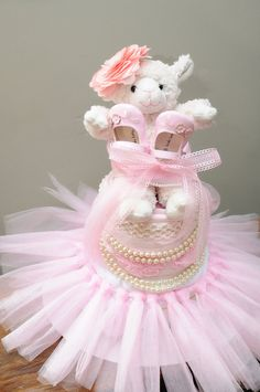 Diaper Cake For Baby Girl  3 Tier  by BabyCreationsByJenn on Etsy, $109.00