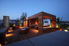 deck benches and lighting