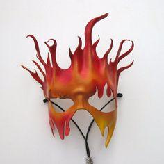 Costume Feu, Fire Costume, Mascaras Halloween, Halloween Masks, Phoenix Costume, Fire Makeup, Fire Element, Leather Mask, Zodiac Art