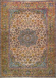 """Esfahan Persian Rug, Buy Handmade Esfahan Persian Rug 9' 8"""" x 13' 7"""", Authentic Persian Rug"""