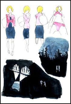 Kemonozume watercolor sketches by Masaaki Yuasa