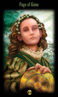 Legacy of the Divine Tarot - page of coins / Page of Pentacles Page Of Pentacles, Divine Tarot, Coin Card, Major Arcana, London Art, Oracle Cards, Art Studies, Tarot Reading, Tarot Decks
