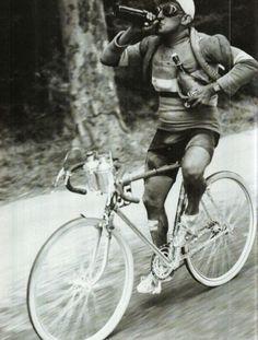 Jules Merviel of France having a drink during Tour de France in 1930.