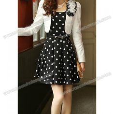 Wholesale Casual Style Scoop Neck Waistband Polka Dot Twinset Dress For Women (BLACK,L), Casual Dresses - Rosewholesale.com